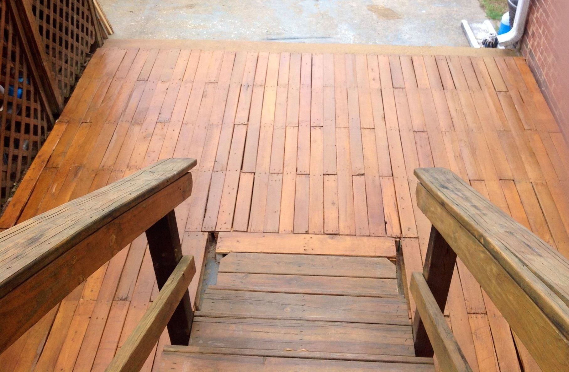 Pallet Deck I Built With My Husband To Cover Our Concrete Patio Concrete Patio Pallet Decking Outdoor Decor