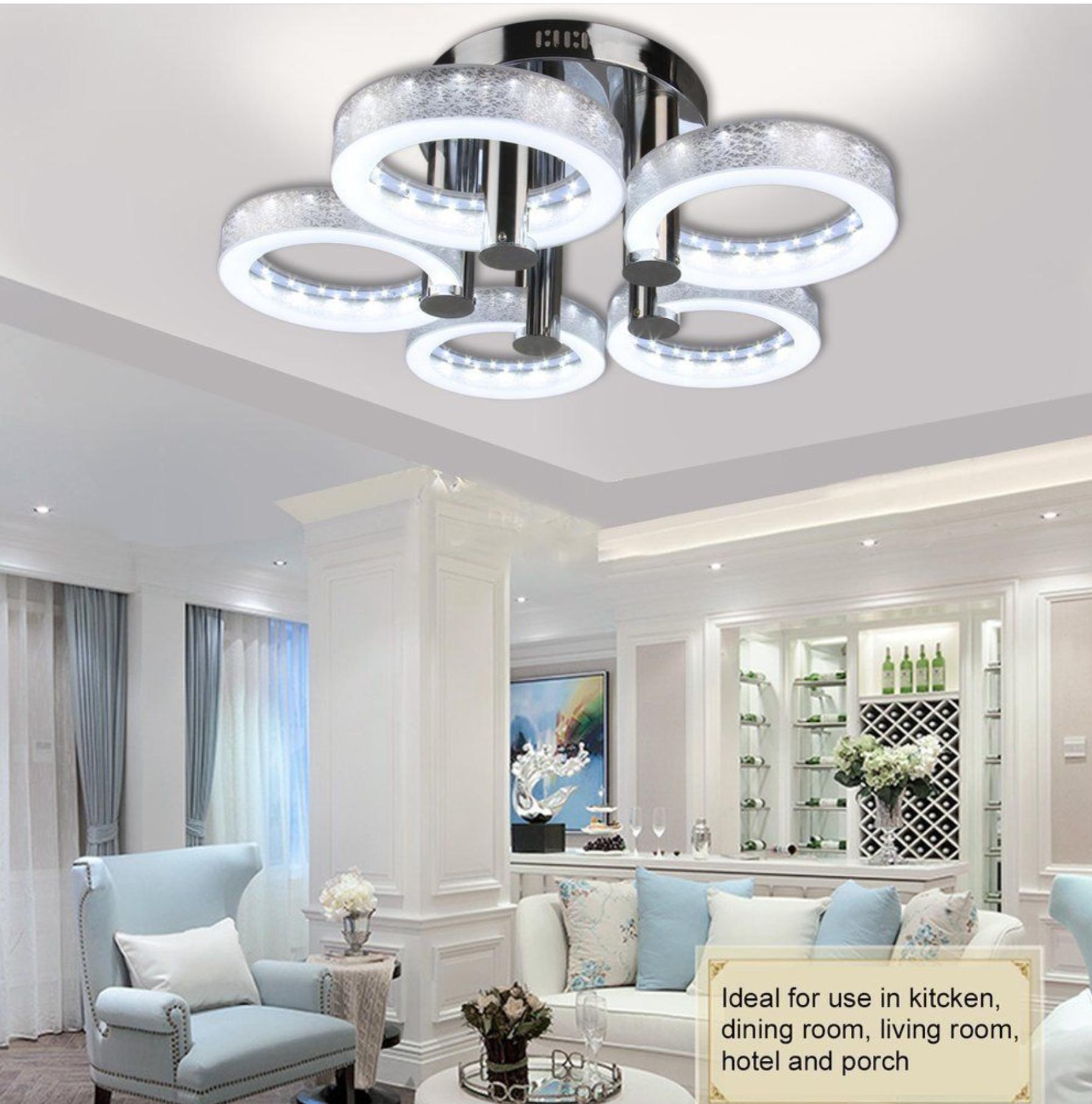 European Modern Round Acrylic Chandelier Ceiling Pendant Light 5 18w Led Lamp Bp Ceiling Lamp Ceiling Lights Ceiling Lights Living Room