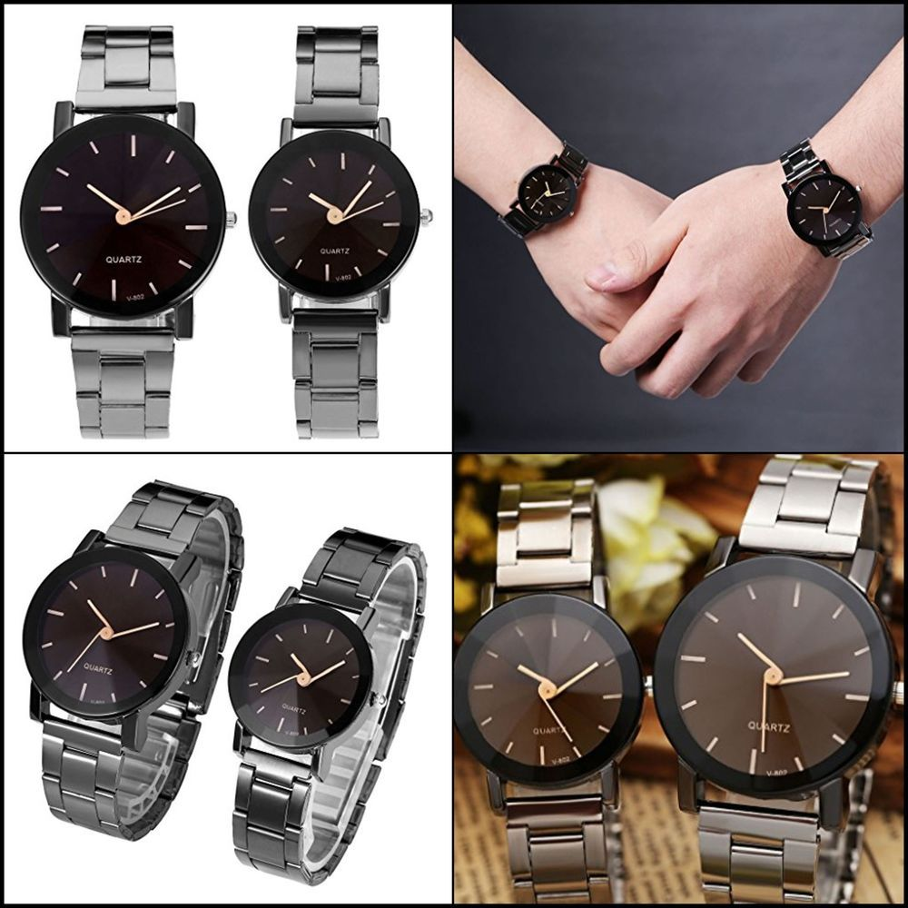 18e7a8983 Top Plaza His and Hers Valentine's Day Gift Couple Watches For Men Women  Black #TopPlaza