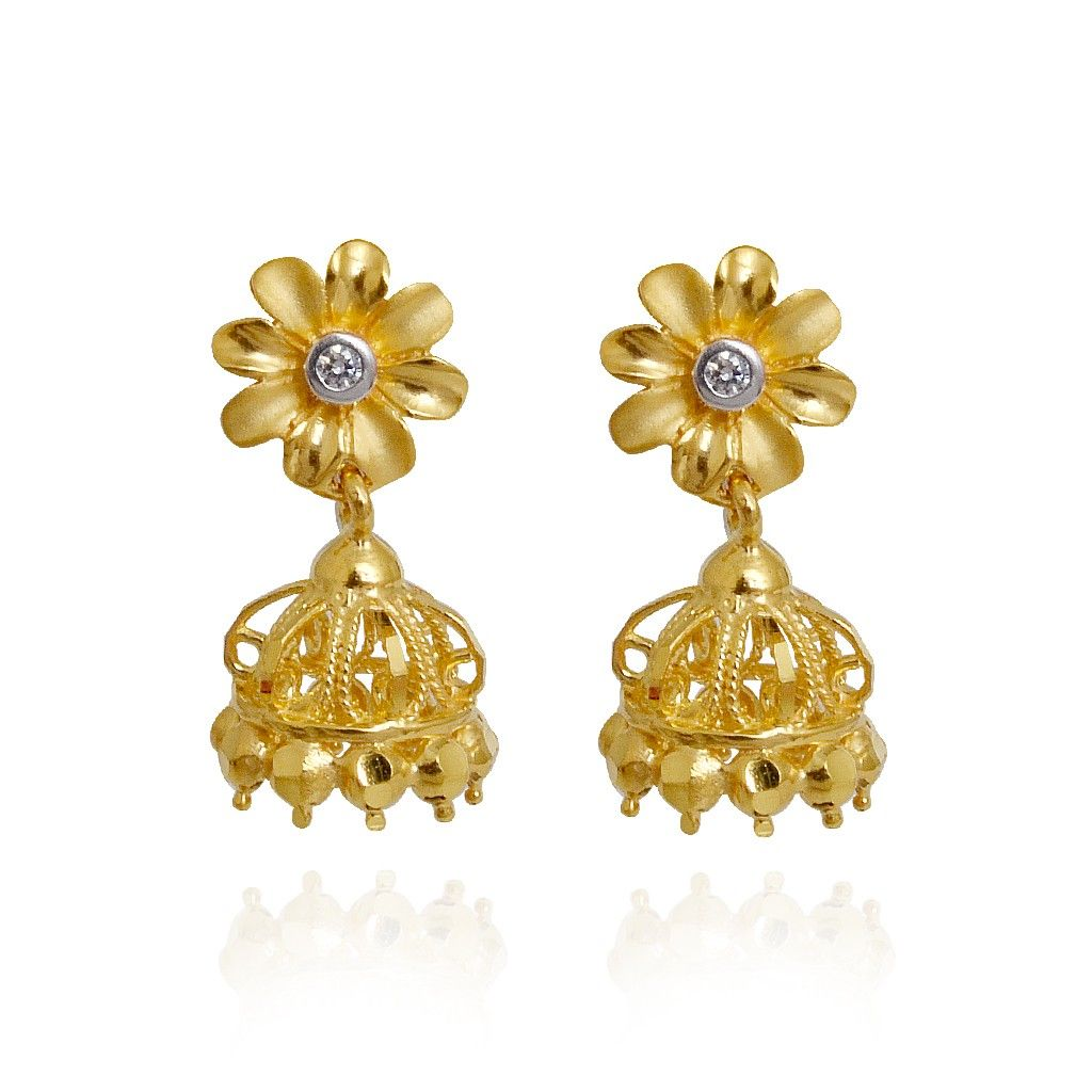 22kt Daisy Flower Hanging Gold Earrings  Earrings  Type  Products