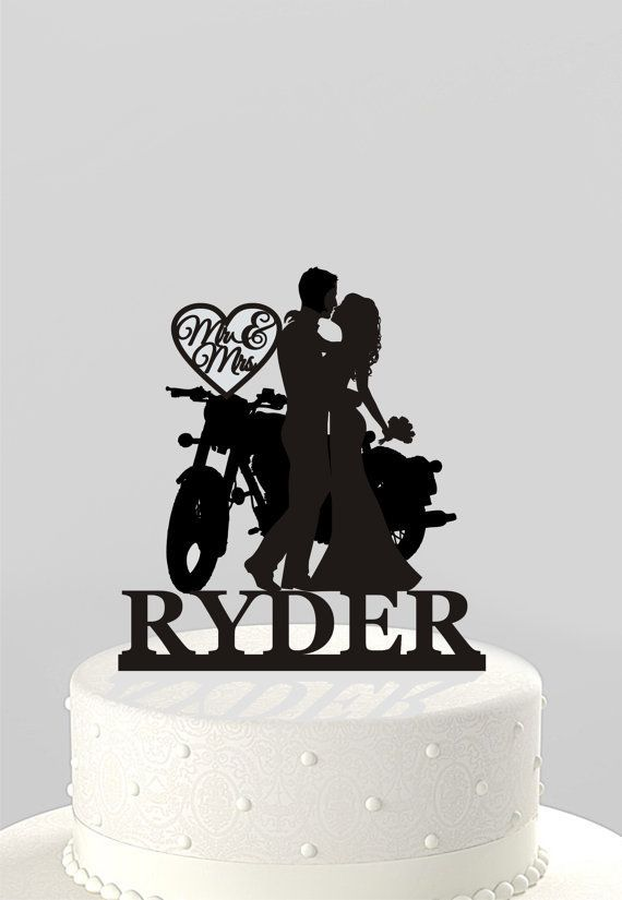 Wedding Cake Topper Silhouette Couple On Motorcycle Mr Mrs Personalized With Last Name Acrylic