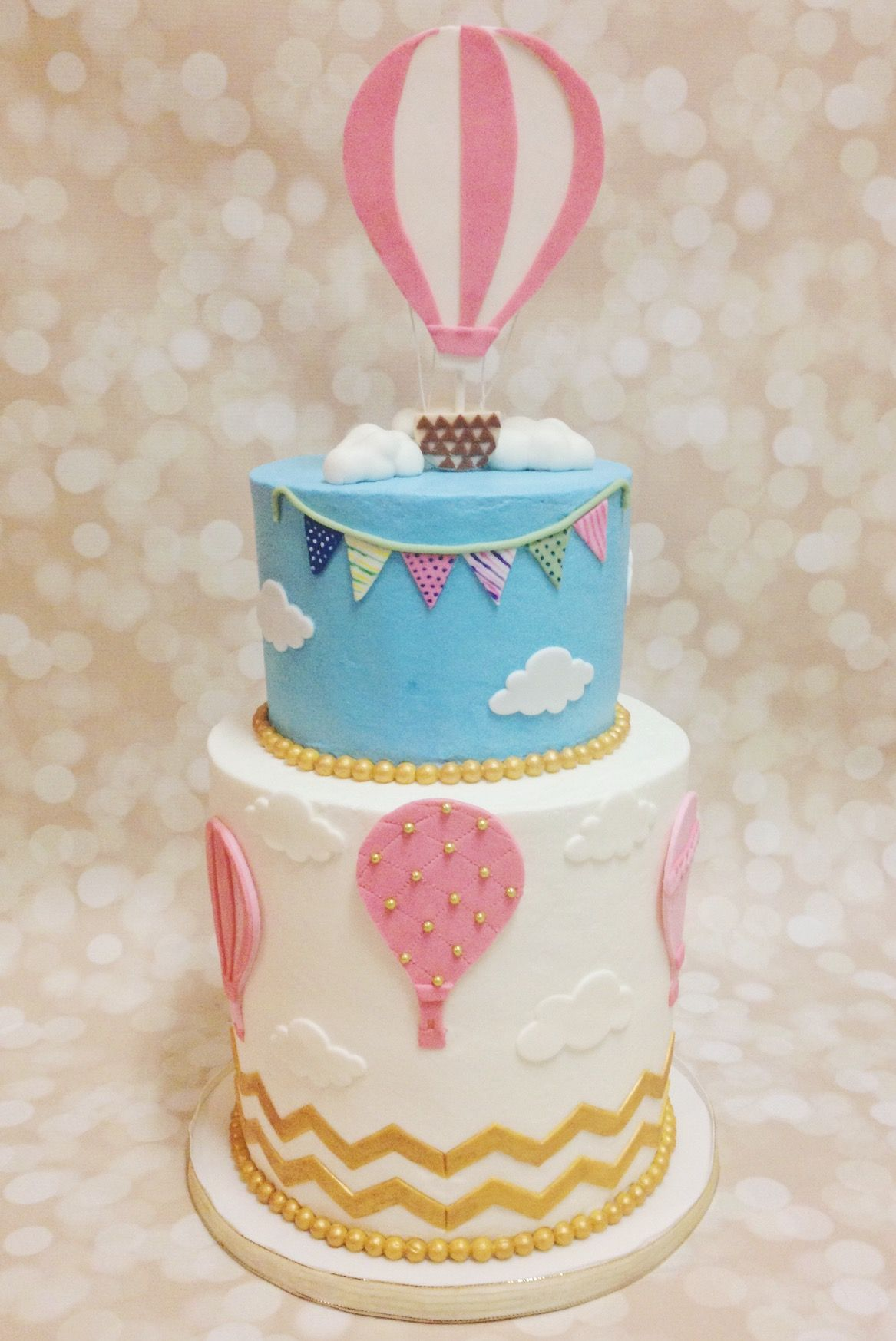 Custom Hot Air Balloon Birthday Cake by A Little Slice of Heaven