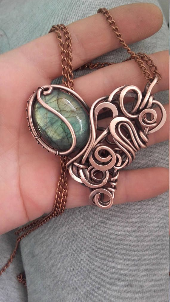 Copper wire heart pendant with natural Labardorite stone,Wire ...