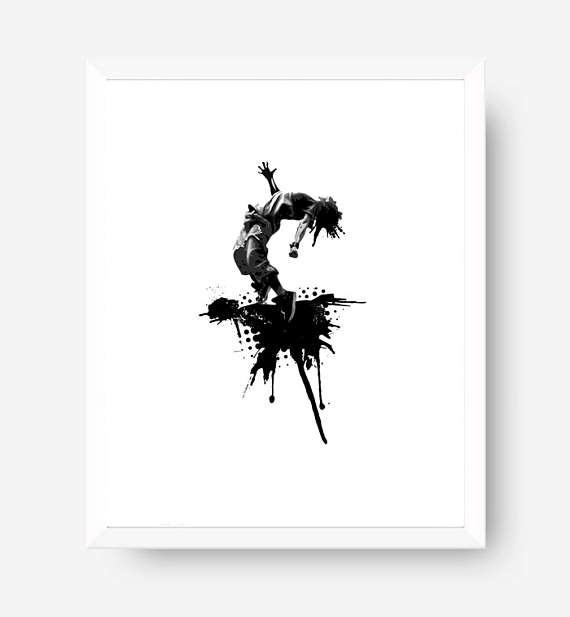 Hip hop dancer printable black and white art dancer wall