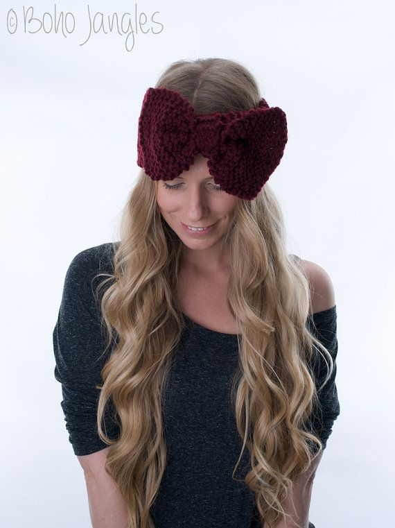 Large Knitted Bow Headband Cute Bow Ear Warmer Cozy by BohoJangles