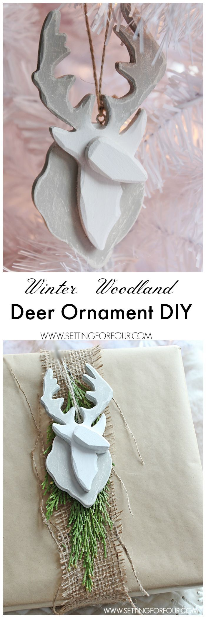 Easy painted Deer Ornament DIY inspired by a winter woodland look! This semi-handmade deer ornament is quick to make and a great tree ornament, stocking stuffer, teacher gift or present topper. http://www.settingforfour.com