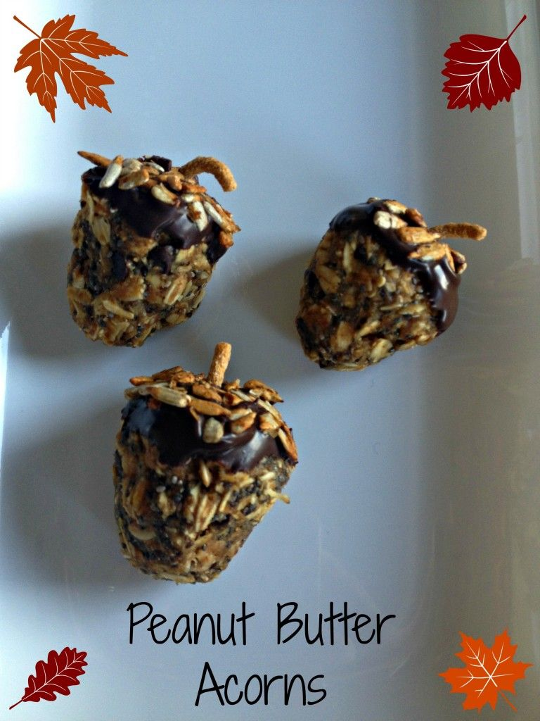 Peanut Butter Ball Acorns!  So cute, easy and HEALTHY!   -SquashBlossomBabies