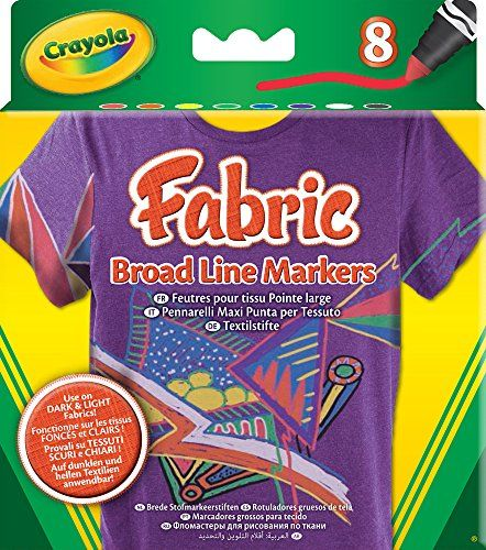 Crayola BroadLine Fabric Markers, 8 Count (Replacing 58