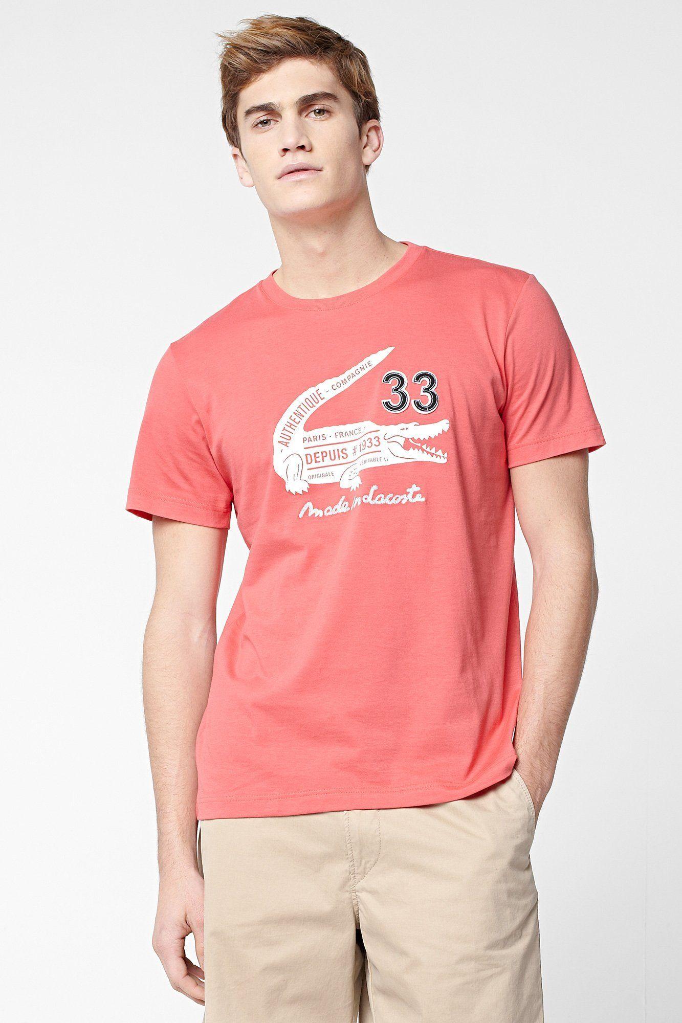 Lacoste Men/'s Graphic Croc Short Sleeve T-Shirt
