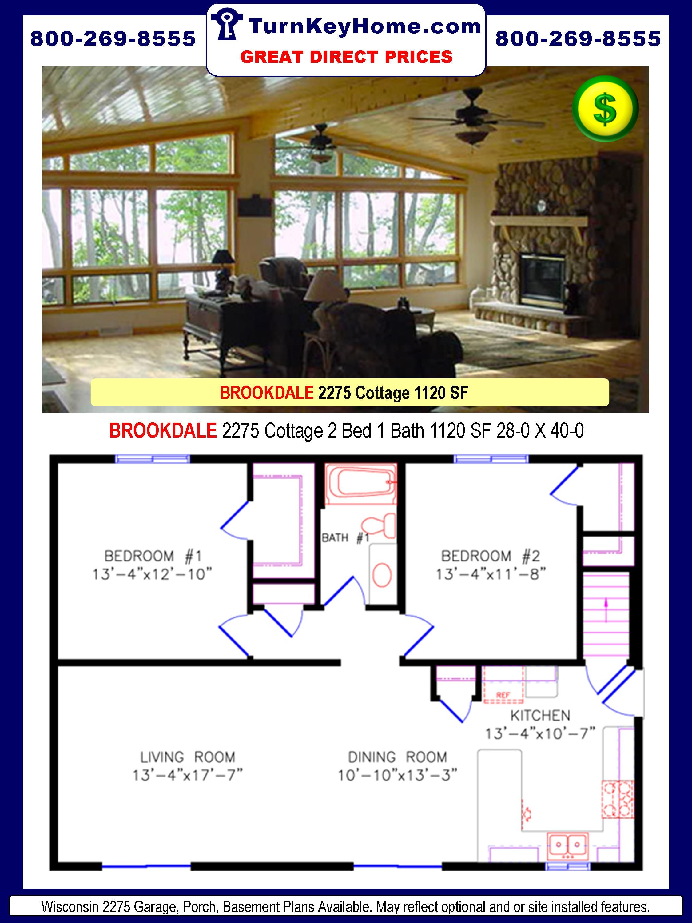 Price Of Manufactured Homes brookdale 2275: 2 bed: 1 bath: cottage plan: 1120 sf: wisconsin