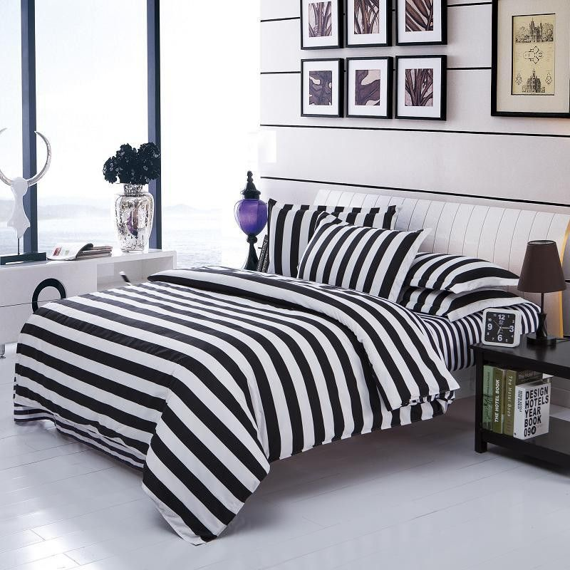 Free Shipping Worldwide 3 Variants Trendy Black And White Textile Bedding Set 48 24 55 76 Queen Size Quilt Cover 200x230cm 1 Black Bed Sheets Black Bedding Duvet Bedding