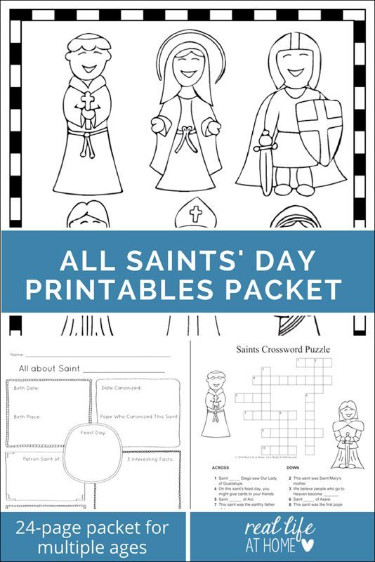 Saints Printables and Worksheet Packet (All Saints\' Day Printables ...