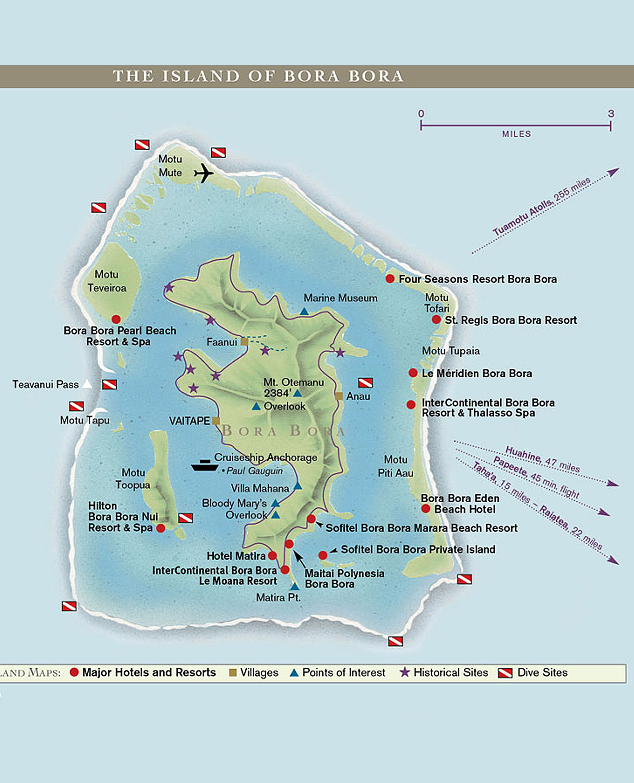 Map of Bora Bora | Tahiti | Bora bora french polynesia, Bora bora ...