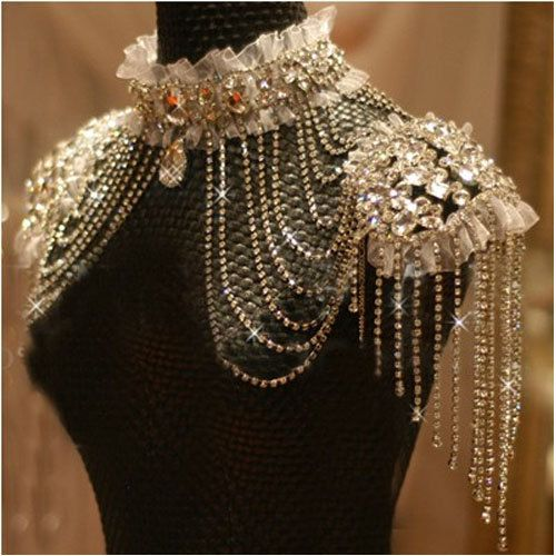 Wish we had time/chance to make this or something similar. Would be stunning for Cendrillon Fashion bride chain accessories rhinestone shoulder strap by B2C2 @Kelley Oberg Smith Wild