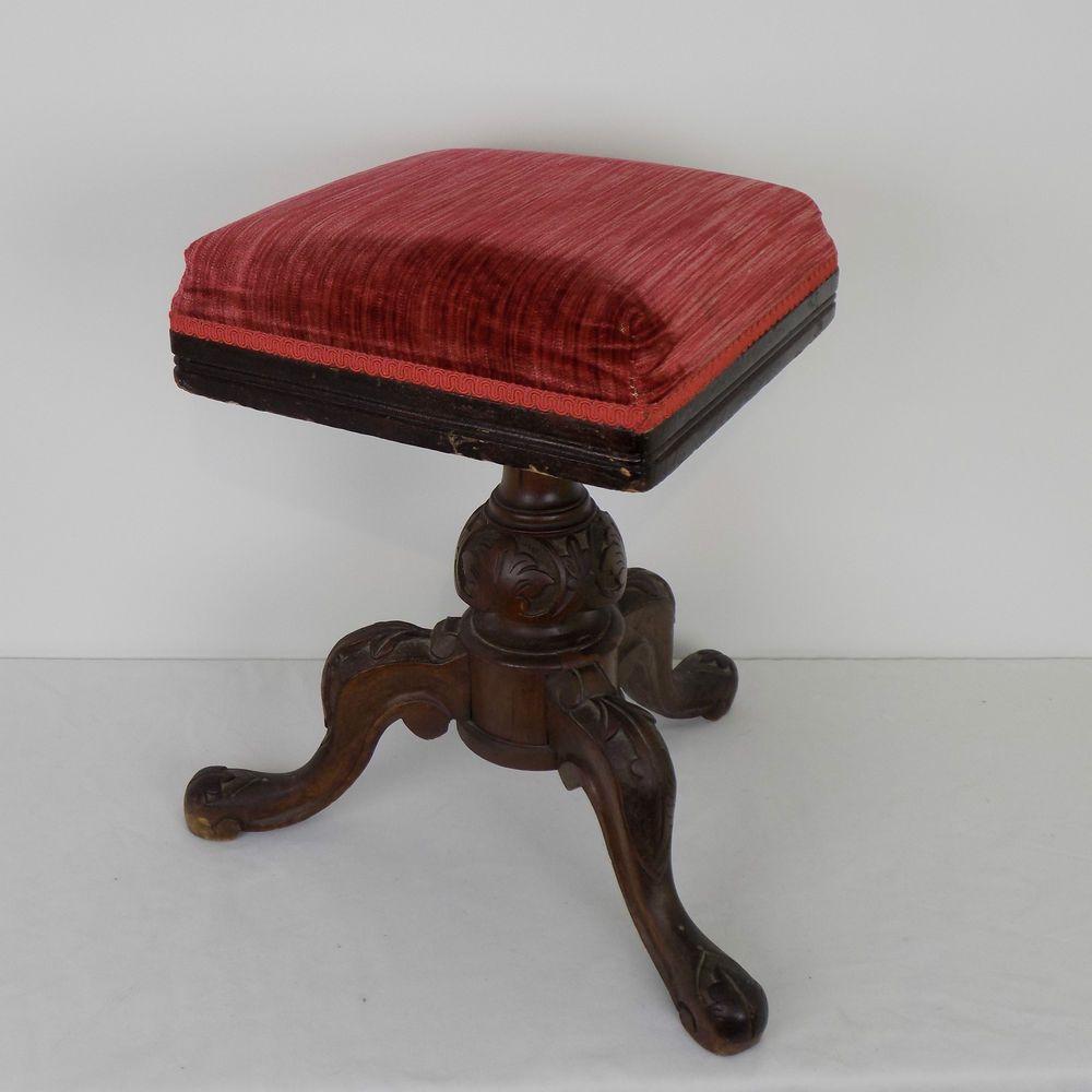 Antique Victorian Mahogany Carved Piano Stool Edwardian