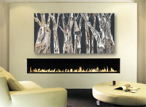 Oversized Long Large Wall Art Tree Trunks Fine Very Modern Print Office Fireplace Living