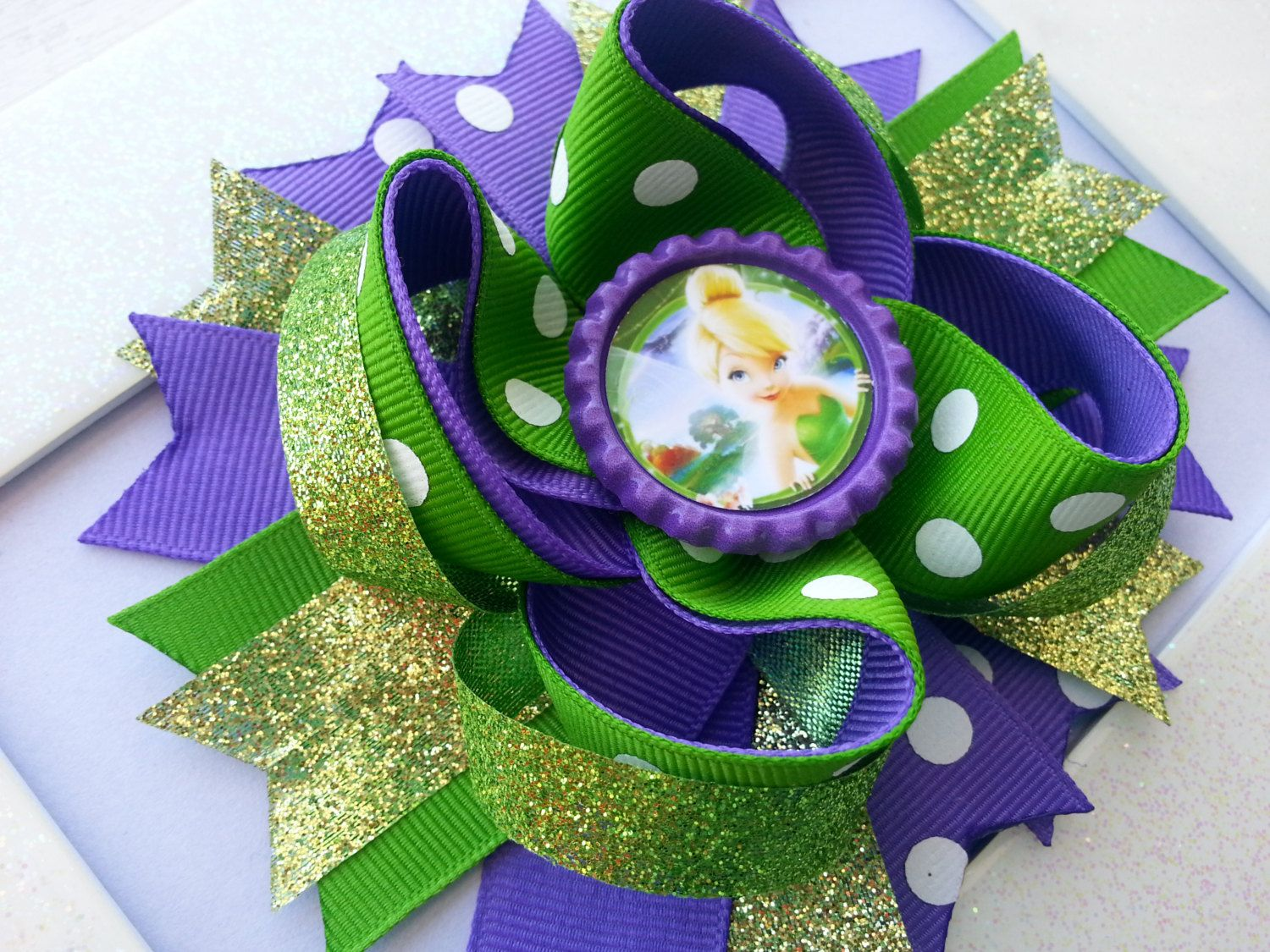 Tinkerbell hair bow tinkerbell birthday hair by dlovelybowtique
