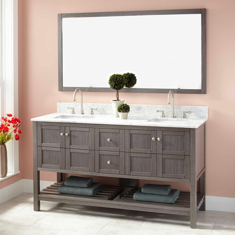 60 Everett Double Vanity For Rectangular Undermount Sink Ash