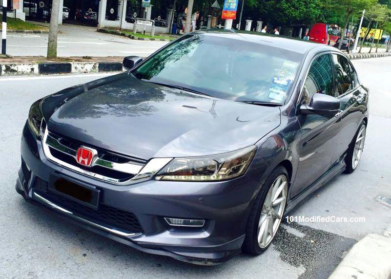 Modified Honda Accord Sedan Generation Tinted Headlight Dark Windows And Red Emblem Logo Front Per Lip Body Kit