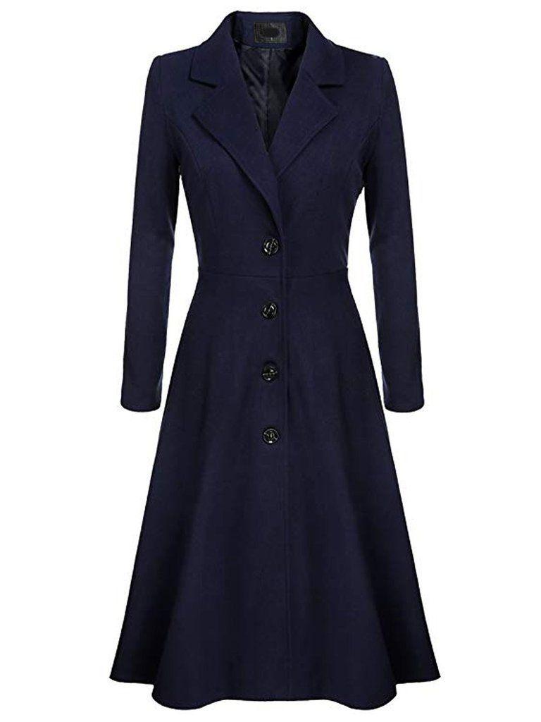 1950s Solid Single Breasted Long Coat Coats For Women Coat Long Coat