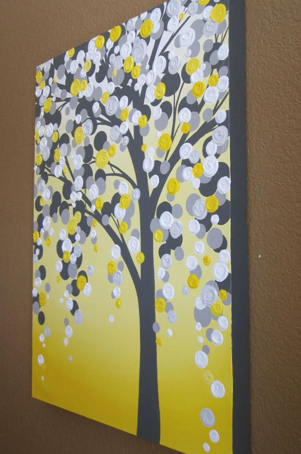 Yellow And Gray Tree Painting Acrylic On Canvas Made To Etsy Texture Art Painting Bathroom Painting