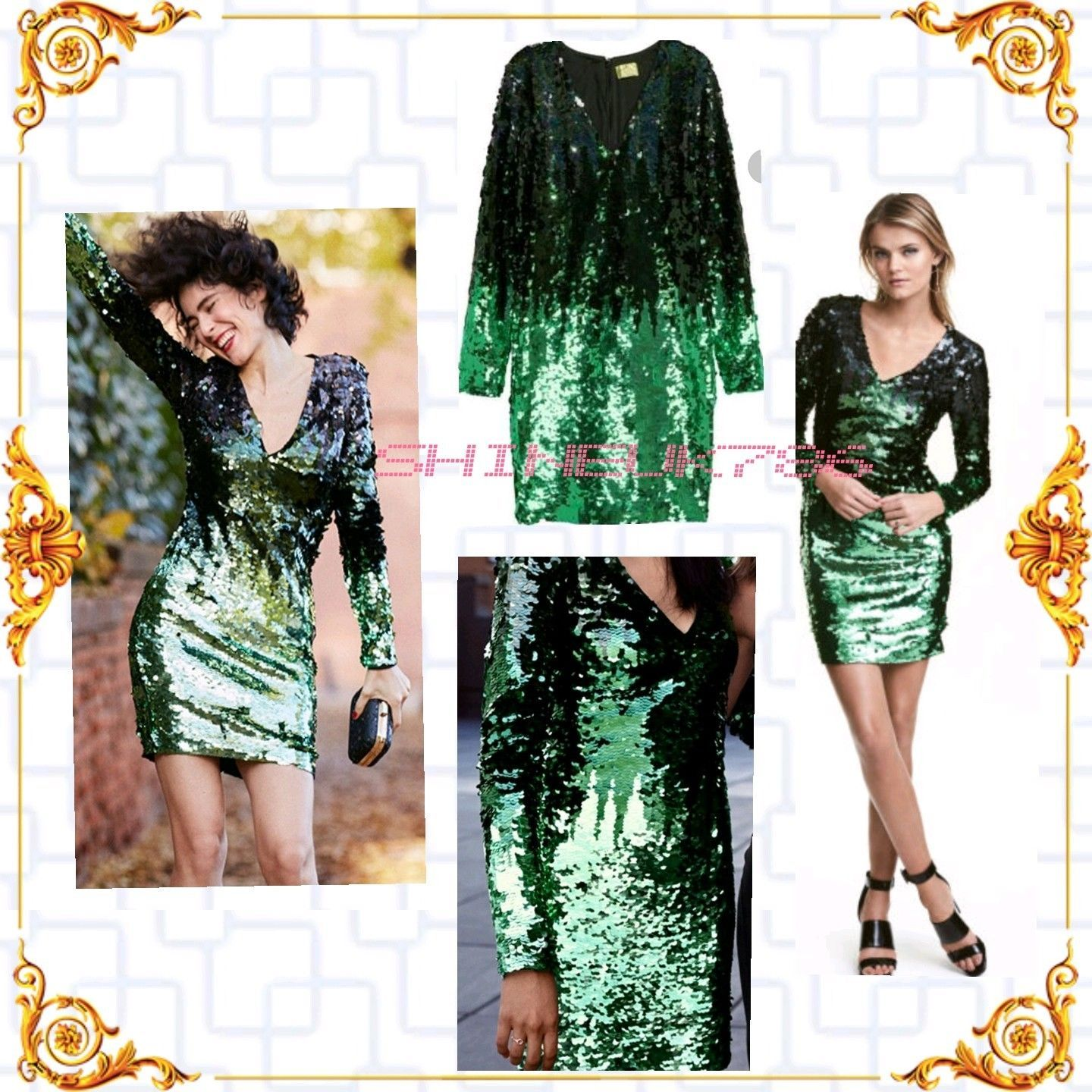 H&m green lace dress  Cool Great HuM ladiesgirls green fully sequin party dress full