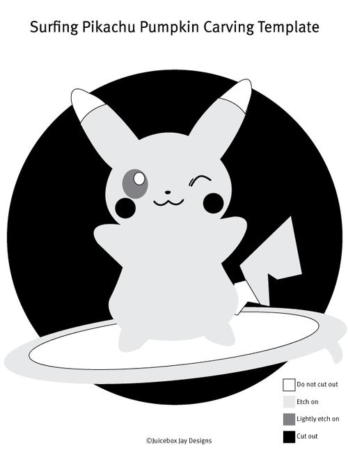 Pikachu Pumpkin Stencil - cute! | Holiday Ideas | Pinterest