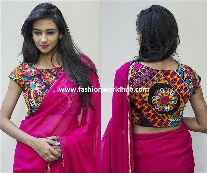 988eee696dc4d Plain saree with kutch work blouses
