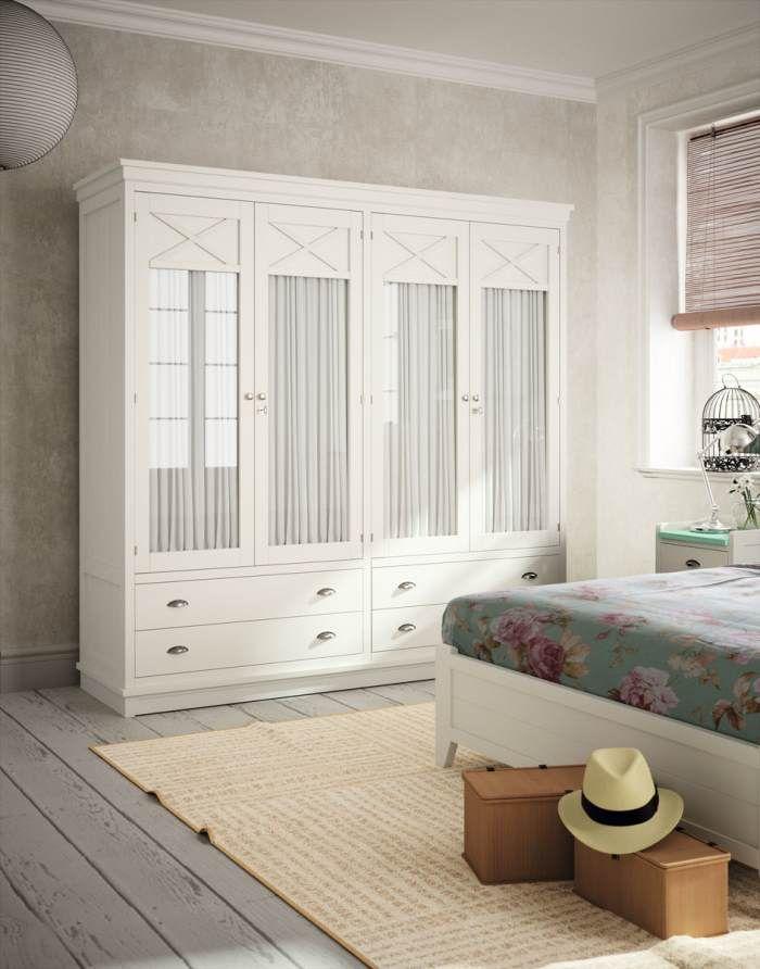 Armario Rustico Blanco ~ Armario Verona 4 Puertas Visillo Blanco Tosca Lacado Armarios de Dormitorio con encanto
