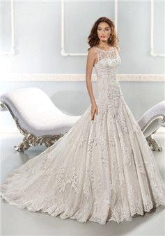Princess Bateau Neck Lace Floor Length Chapel Train Wedding Dress With  Appliques   Lunadress.co