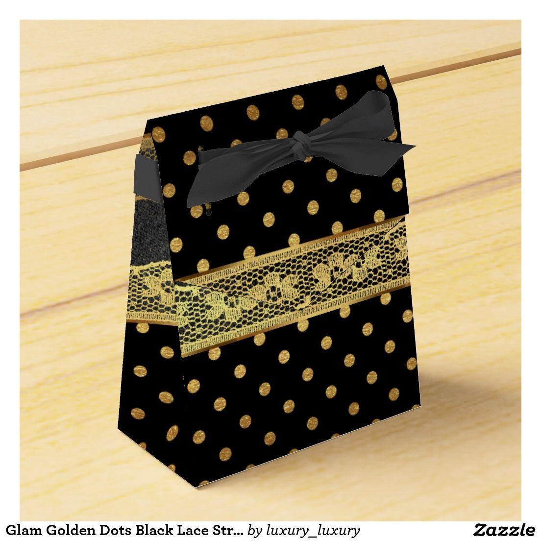 Glam Golden Dots Black Lace Stripes Party Favour Boxes