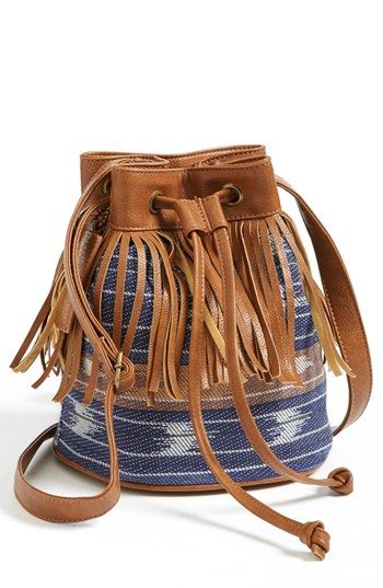 Kendall+&+Kylie+Madden+Girl+Fringed+Fabric+Bucket+Bag+(Juniors)+available+at+#Nordstrom