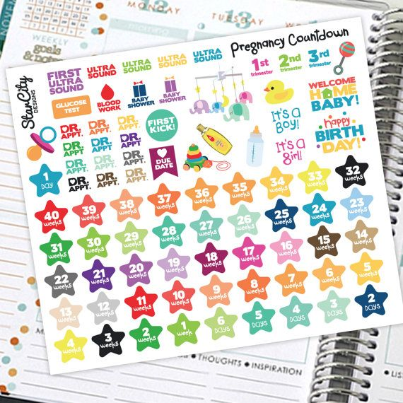 Pregnancy Countdown Stickers Pregnancy Planner Stickers Baby