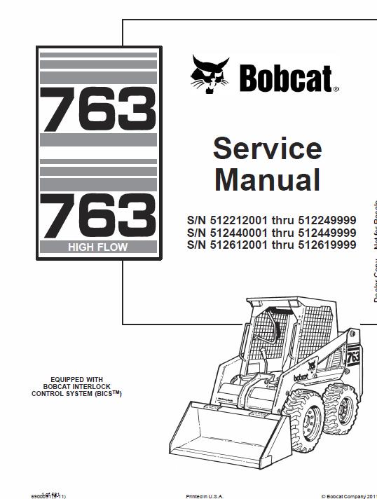 Bobcat 763 And 763hf Skid Steer Loader Service Manual Repair Manuals Bobcat Skid Steer Loader