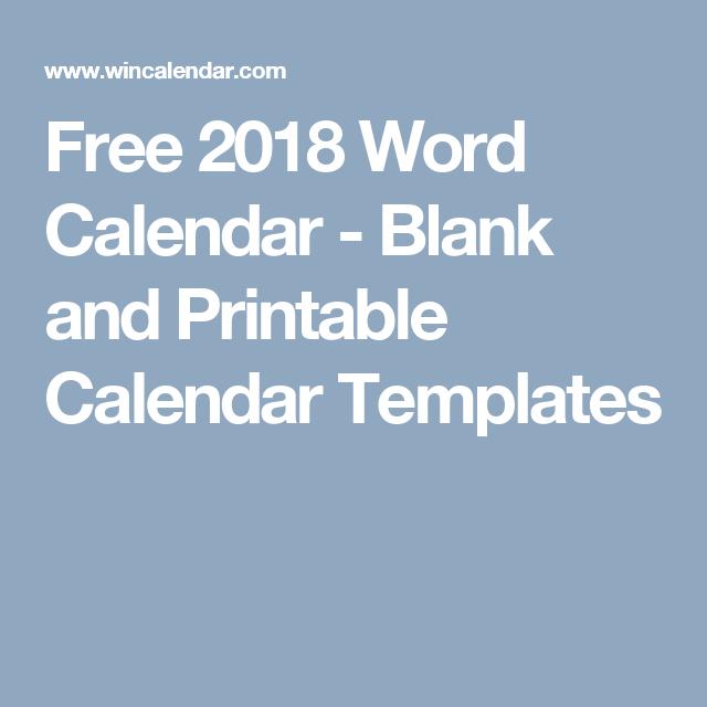 free 2018 word calendar