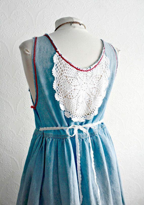 Upcycled Vintage Womens Denim Jumper Pink by BrokenGhostClothing, $79.00