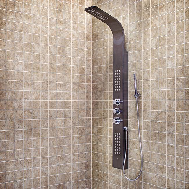VIGO VG08009GM   Gunmetal Shower Panel With Rain Head Massage System