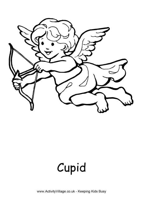 free printable cupid colouring page 3