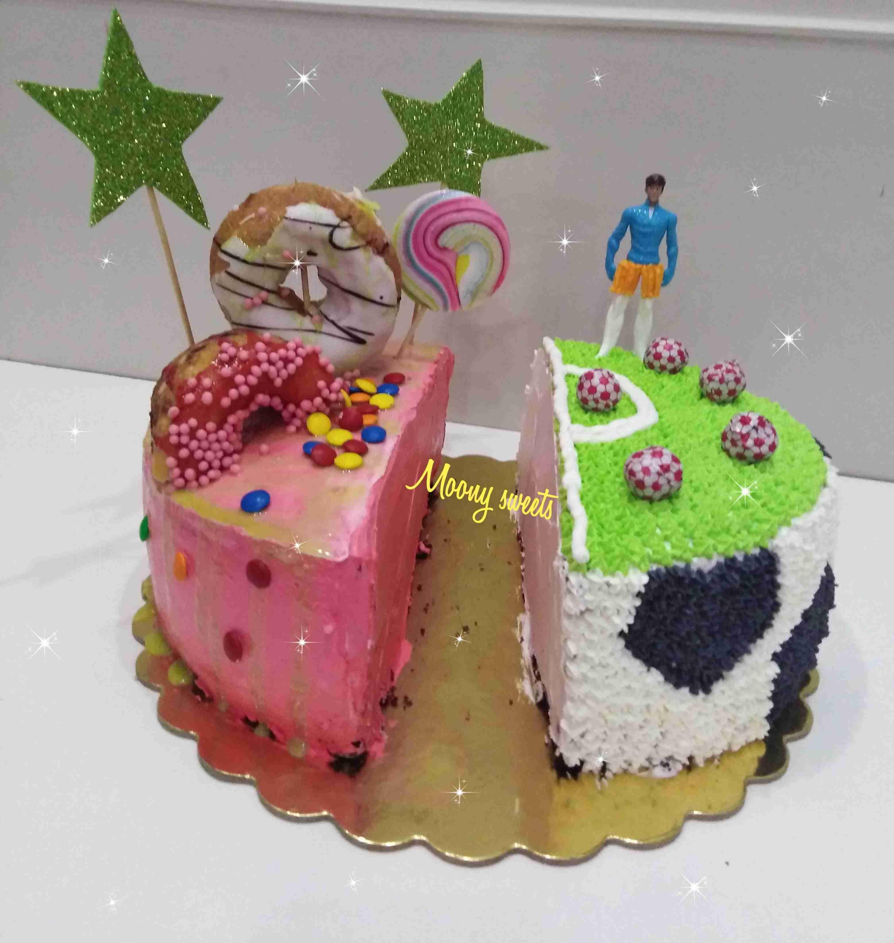كيكة جمعت عيد ميلاد ولد وبنت زاكي Recipe Desserts Cake Birthday Cake