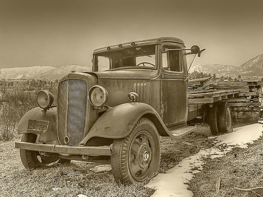 Old Flat Bed Truck Sepia Tone Photograph  - Old Flat Bed Truck Sepia Tone Fine Art Print