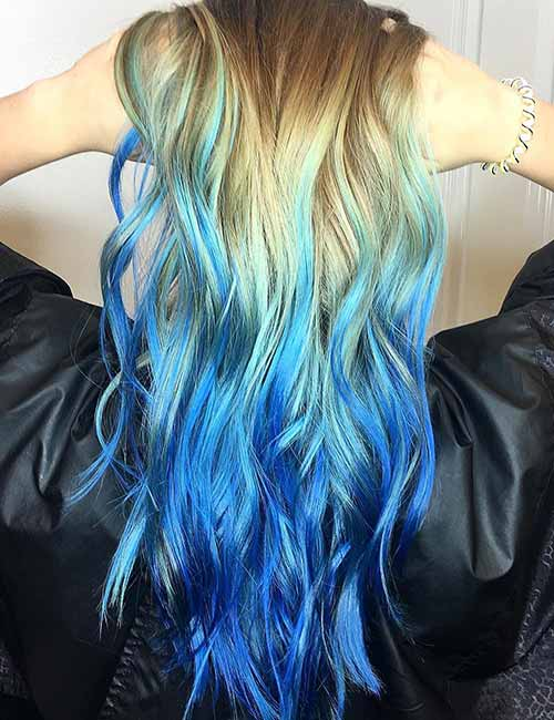 Blonde Hair Blue Ombre Tips Lajoshrich In 2020 Blonde And Blue Hair Blue Ombre Hair Ombre Hair Blonde