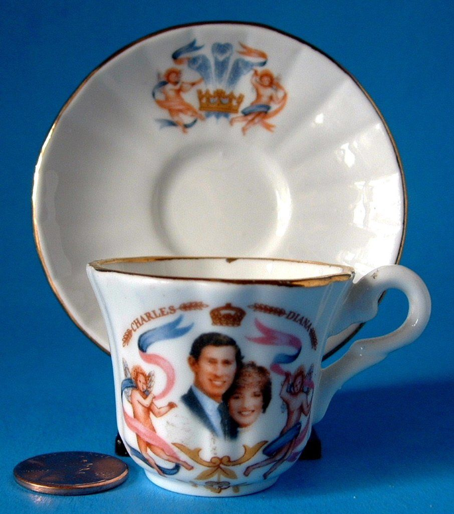 Birth Prince William Miniature Cup Saucer Charles And