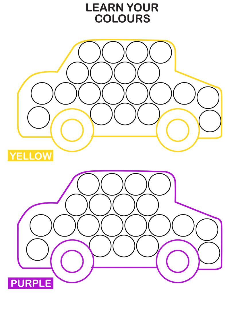 Colors for learning free printable learning colors coloring pages are - Learn Colors With Cars Do A Dot Transportation Worksheets For Kids