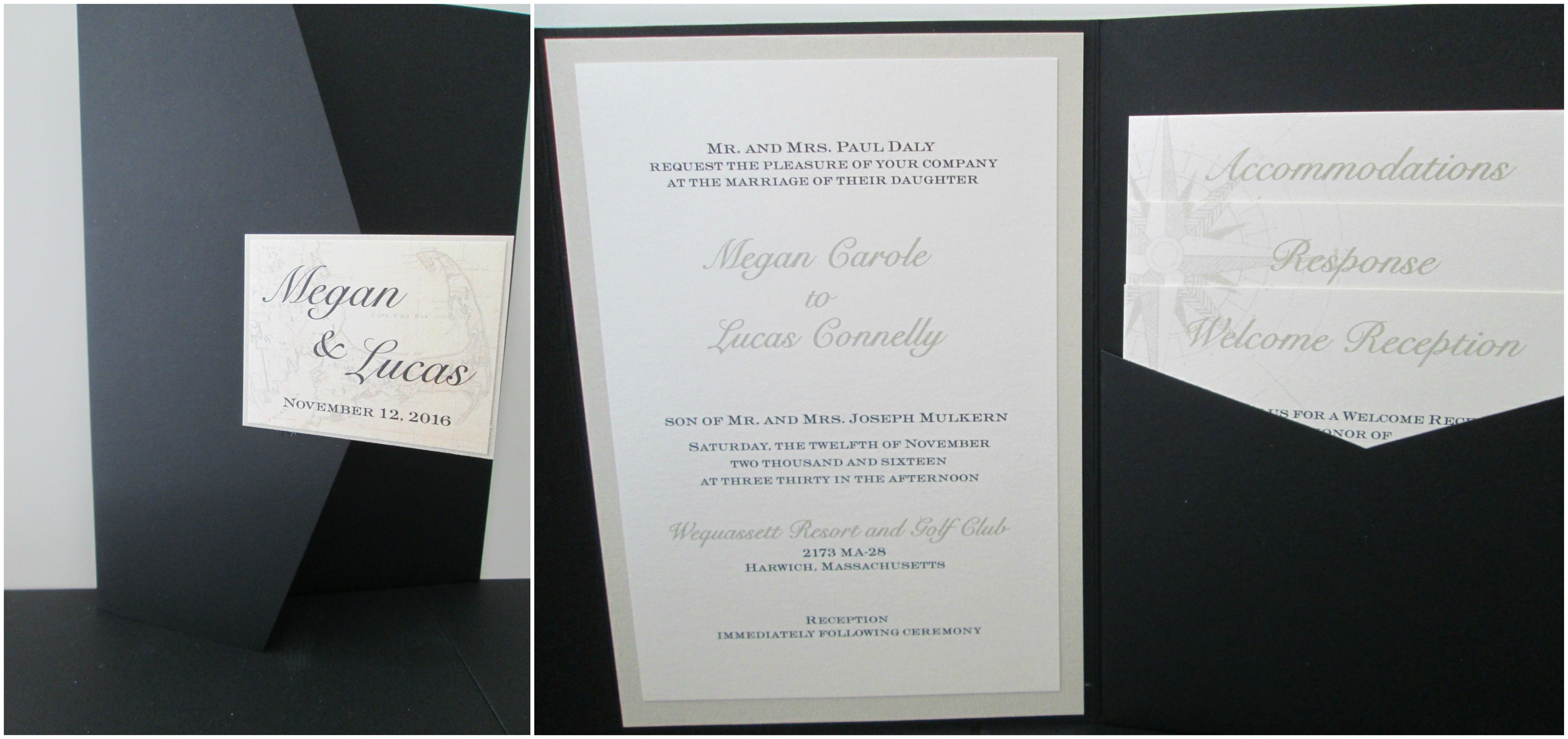 Pocket Fold Wedding Invitations With Compass Watermark Wedding