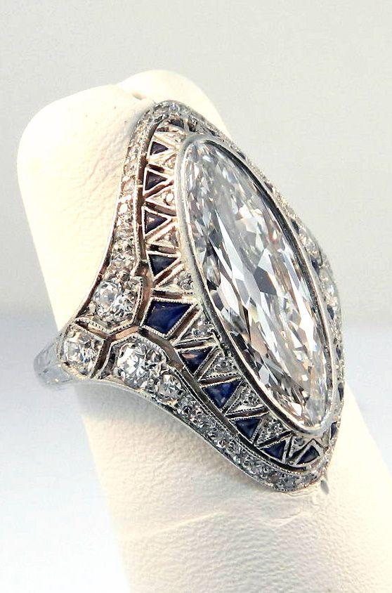 781e0ccd2f4d9 1920s Art Deco Sapphire Diamond Platinum Cocktail Ring in 2019 | Art ...