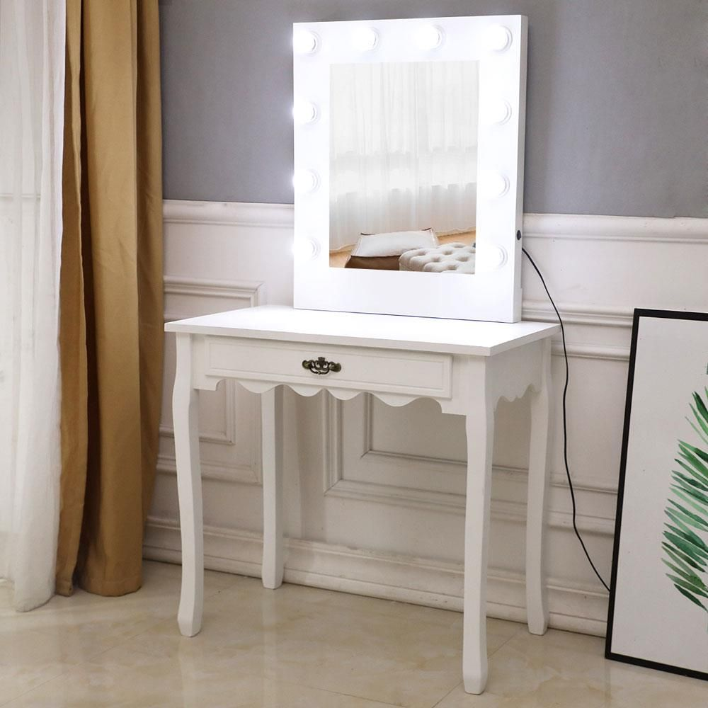 Ktaxon White Warm Light Led Vanity Table Set With Generous Mirror 1 Large Drawers With Sliding Rails Makeup Dressing Table Walmart Com In 2020 Vanity Table Set Dressing Table Mirror Dressing Table Lights