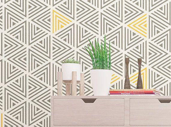 Wand schablone moderne geometrische wand von stencilslabny auf e schablonen vordrucke - Wand muster schablonen ...