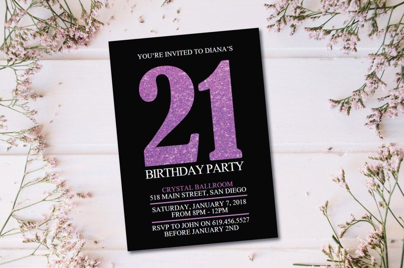 Any Age Purple Black Birthday Invitation Printable Birthday Invitation Birthday Card Printable Birthday Invitations Birthday Invitations 21st Birthday Cards