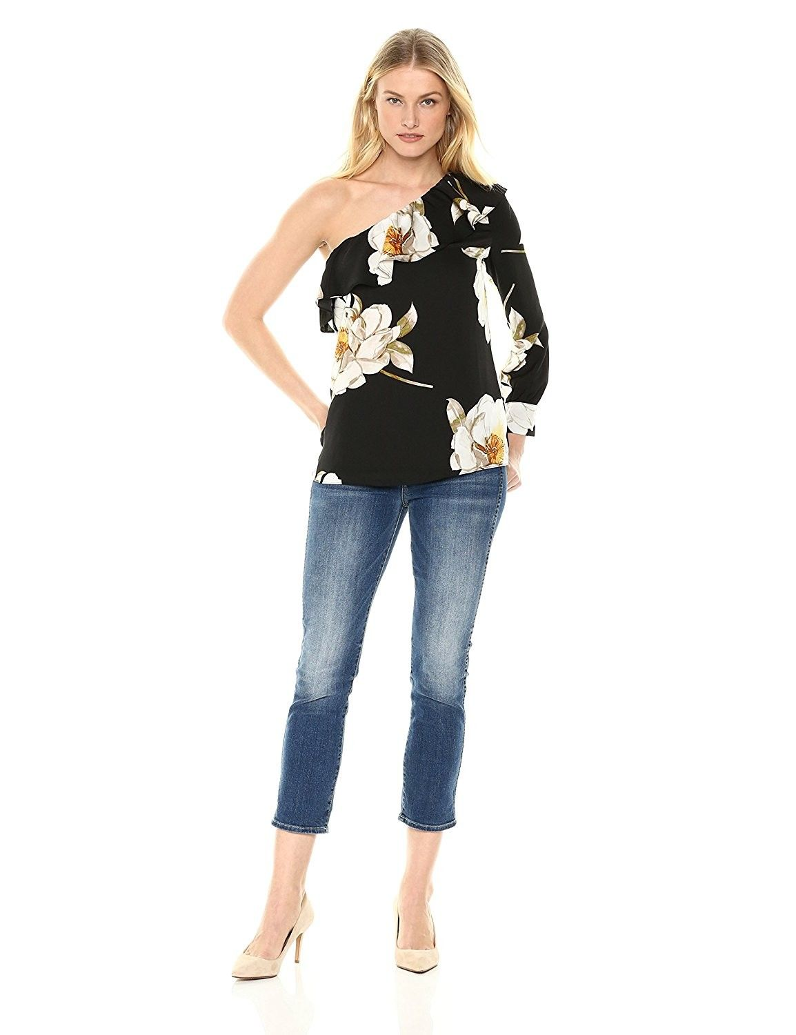 4afd05871fe Women's Clothing, Tops & Tees, Blouses & Button-Down Shirts,Lark & Ro  Women's Long Sleeved Top With Asymmetric Cold Shoulder - Oversized Camellia  Print ...
