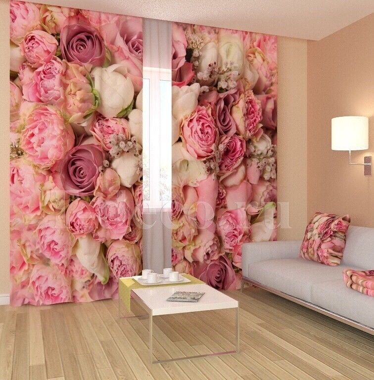 Details zu Neu! Fotogardinen Vorhänge in Luxus Fotodruck 3D. 2 tlg